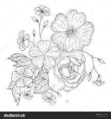 bouquet flowers coloring books stock vector 417313996 shutterstock