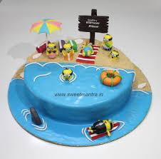 minions on beach theme personalized designer fondant birthday cake