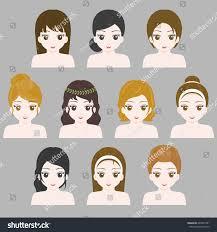 design hair game girl hair style collection flat design stock vector 649537981
