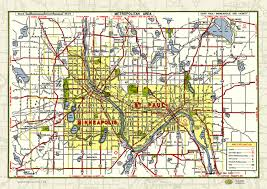 Map Poster Mpls St Paul Mn Twin Cities 1950 Map Poster Vintage Street