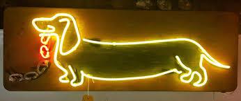 Art Lights Gods Own Junkyard Sausage Dog Neon Artwork On Metal By Gods Own