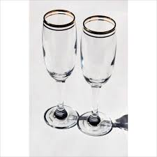 classic barware eternal chagne flute tall glasses classic double gold ring rim
