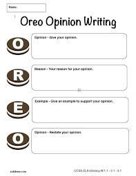 graphic organizer oreo opinion writing k 5 computer lab