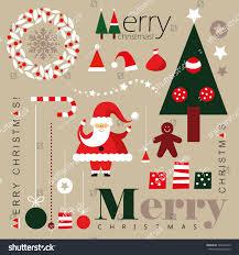 Santa Claus Christmas Ornaments by Set Christmas Ornaments Decorative Elements Vintage Stock Vector
