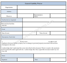 general waiver liability form printable sample release and waiver