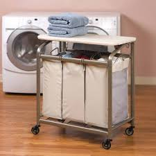 Laundry Room Storage Cart by Seville Classics Deluxe Mobile 3 Bag Heavy Duty Laundry Hamper