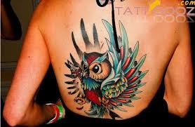 tattoo girl owl color ink owl tattoo on girl back tattooshunt com