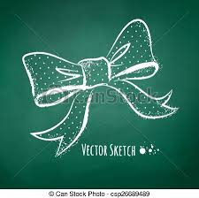 chalkboard drawing of a bow vector illustration of vector