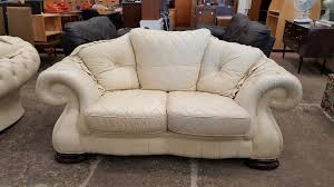 Pendragon  And  Seater Cream Leather Sofa Set In Newcastle - Cream leather sofas
