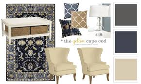 the yellow cape cod blue beige and charcoal family room