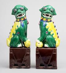 choo foo dogs pair multicolored foo dogs green yellow blue