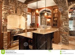 Kitchen Interior Photo Kitchen Interior With Stone Accents In Affluent Ho Stock Photo