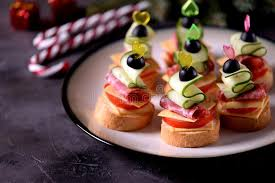 canape toast canapé on skewer from bread baguette with toast cheese sausage
