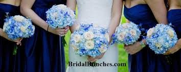 blue wedding bouquets 12pc royal blue light blue green shades with pale pink