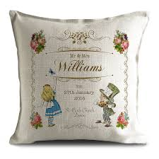 Hire Cushions For Wedding Chairs Uk Mr And Mrs Personalised Alice In Wonderland Wedding Cushion Cover