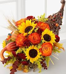ftd cornucopia deluxe thanksgiving cornucopia orange roses and