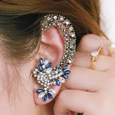 cuff earrings fashionable jewelry pretty navy parrot ear cuff earring