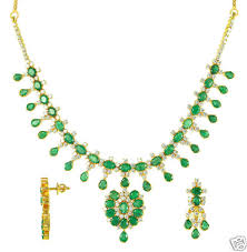 emerald gold necklace jewelry images Gold plated emerald and zircon necklace with earrings gleam jewels jpg