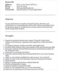 spanish teacher resume 28 resume for teachers elementary teacher