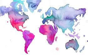 Trinidad On World Map by Watercolor World Map Illustration No 7 Print