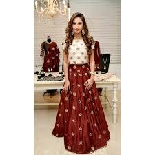 silk skirt sharaddha brown and white silk skirt top