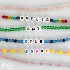 Kids Name Necklaces Beaded Name Necklace Literacy Activity For Kids Rhythms Of Play