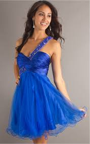 sweetheart royal blue ball gown short one shoulder cocktail