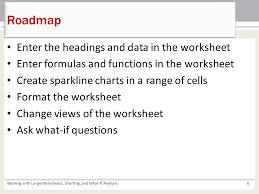 working with large worksheets charting and what if analysis