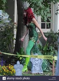 Halloween Decorations At Home by Brooke Burns Dressed As Poison Ivy For Halloween Night At Her Home
