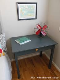 grey desk mustard pull the weathered door