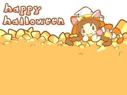 cute anime halloween vector seamless pattern kawaii halloween design stock vector