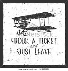vintage airplane lettering printing vector old stock vector
