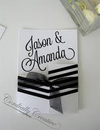 black and white striped wedding invitations black and white striped personalized folded wedding invitation