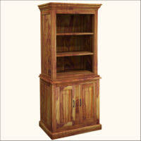 furniture rustic tall unfinished dark wood bookshelves with two