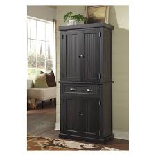 Double Swing Door Kitchen Black Stained Wooden Pantry Cabinet With Drawer And
