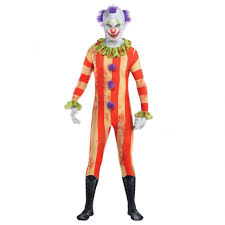 adults evil circus killer clown halloween skin suit costume