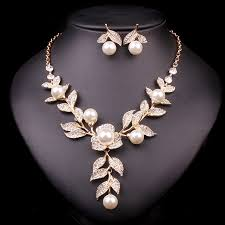 fashion jewelry pearl necklace images New fashion gold color bridal necklace earrings imitation pearl jpg