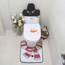 Christmas Bathroom Rugs 3 Pcs Happy Santa Toilet Seat Cover Rug Christmas Bathroom Set