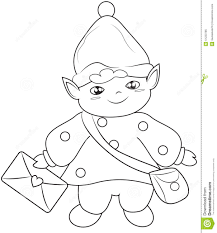 elf messenger coloring page stock illustration image 51223785