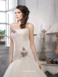simple tulle over satin drop waist ball gown style wedding dress