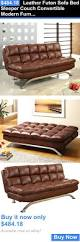 Mission Style Futon Couch Tribecca Home Uptown Dark Brown Faux Leather Modern Sofa Best