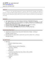 Sap Abap Resume For 2 Years Experience Sap Abap Consultant Cv