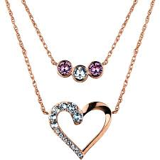swarovski hearts necklace images Truly inspired swarovski crystal fine silver plated 14kt rose gold jpeg