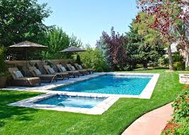Pool In Backyard by Backyard Swimming Pool With Minimal Decking Deckjets And Lounge