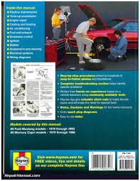 haynes ford mustang 1979 1993 mercury capri 1979 1986 auto repair