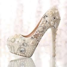 wedding shoes toe sweet pearl rhinestone flowers closed toe stiletto heel wedding