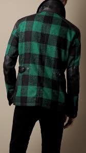 green motorcycle jacket burberry leather panel motorcycle jacket in green for men lyst
