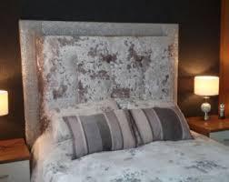 luxurious cream crushed velvet handmade upholstered headboard
