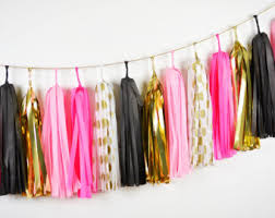Pink And Black Sweet 16 Decorations Tassel Garland Etsy
