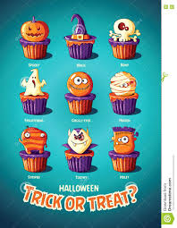 halloween vintage vector poster trick or treat cakes with